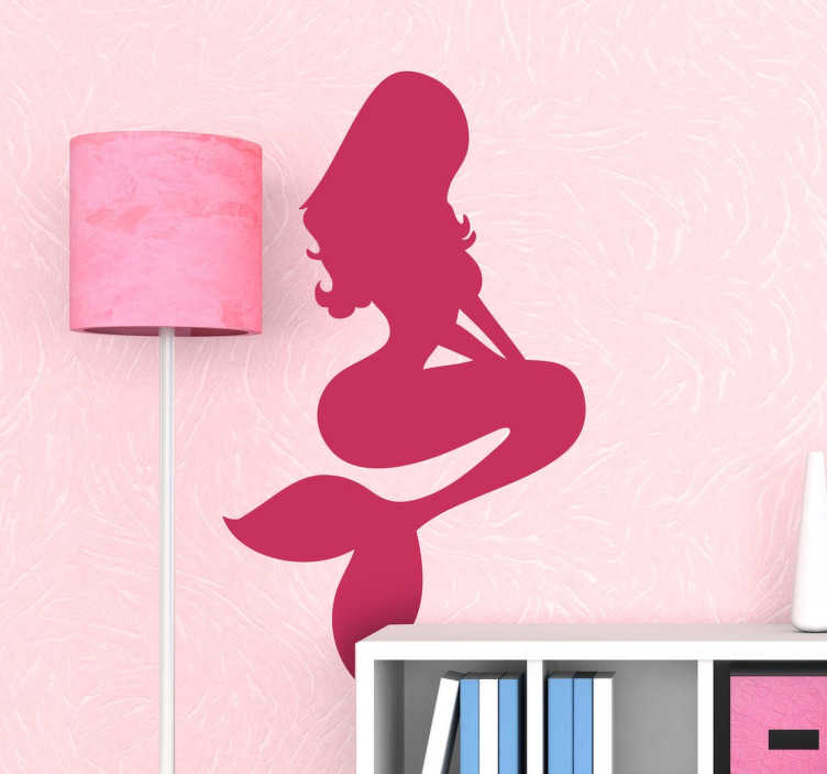 Tenstickers. Sjöjungfru silhouette vägg klistermärke. En silhouette sjöjungfrun dekal från vår uppsättning sjöjungfru vägg klistermärken för att ge ditt hem ett nytt utseende tillsammans med en fantastisk atmosfär.