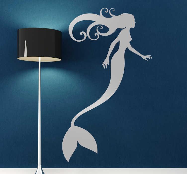 TenVinilo. Vinilo decorativo silueta sirena estilizada. Perfil silueteado en adhesivo de este ser mitológico marino para la decoración de tu hogar.