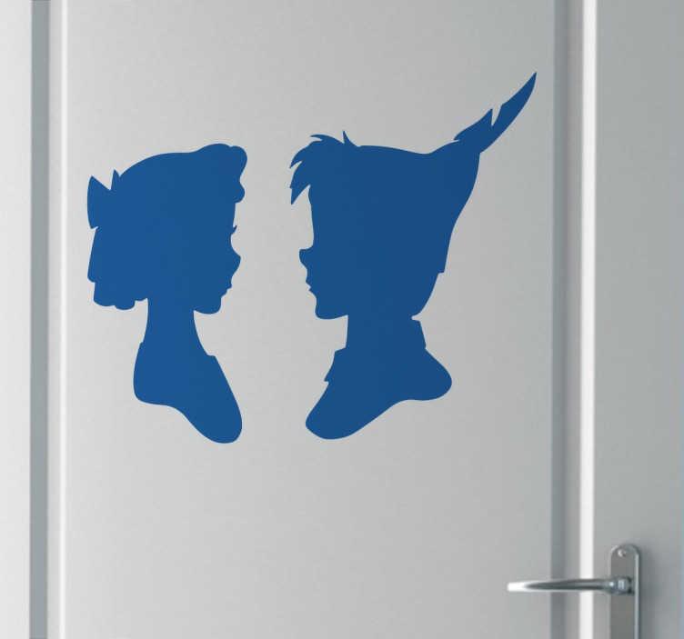 TenVinilo. Vinilo decorativo perfil Peter Pan y Wendy. Vinilos de Peter Pan con el perfil de los dos personajes principales de tu cuento favorito.