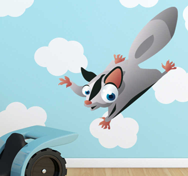TenStickers. Kids Flying Squirrel Wall Sticker. Kid Wall Stickers;Fun and playful illustration of a friendly flying squirrel with big eyes.  Ideal for the kids´bedrooms and play areas