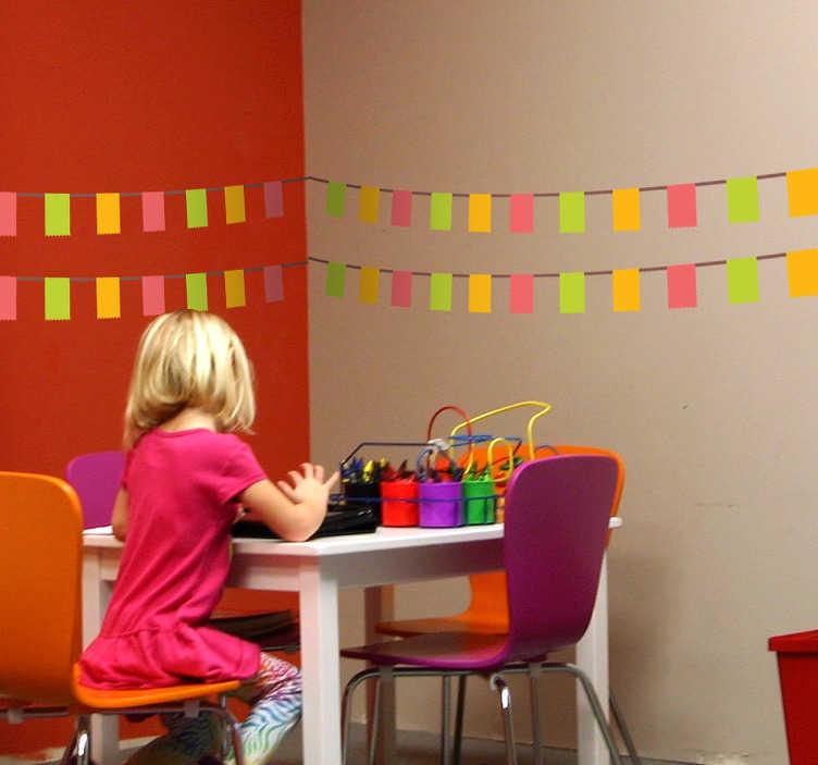 TenStickers. Naklejki kolorowy zestaw prostokątów. Naklejki na ścianę, które imitują dekorację wprost z festynów.