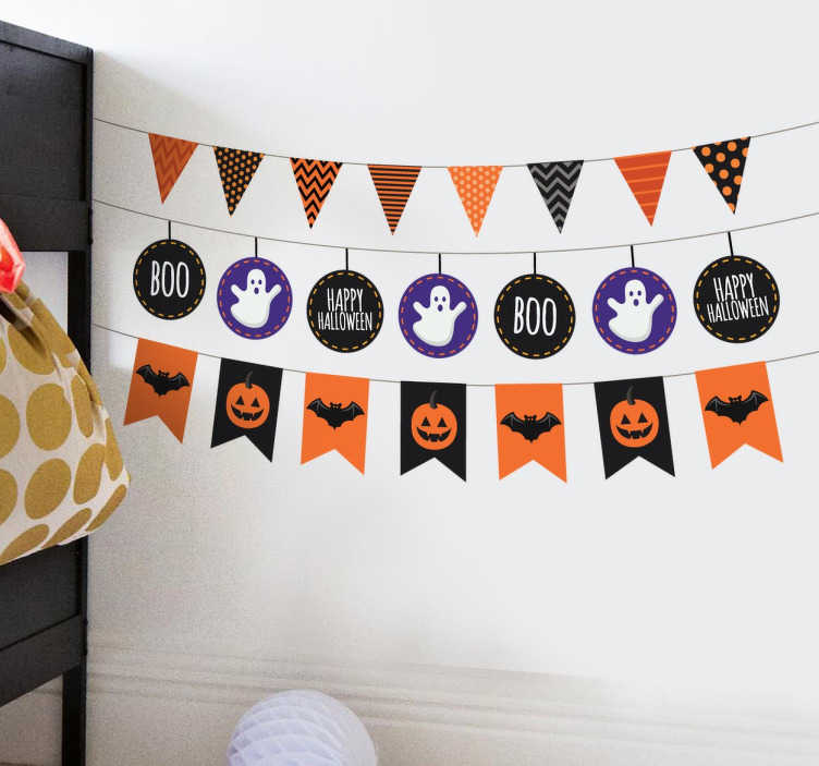 TenStickers. Halloween Bunting Stickers. A creative design from our collection of bunting wall stickers illustrating four sets of banners each with different Halloween related designs.