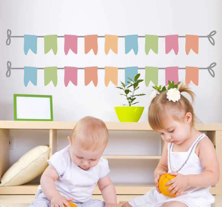 TenStickers. Naklejki kolorowe banery. Dekoracyjna naklejka na ścianę przedstawiajaca kolorowe transparenty, które dodają w łatwy sposób efektu dekoracyjnego.