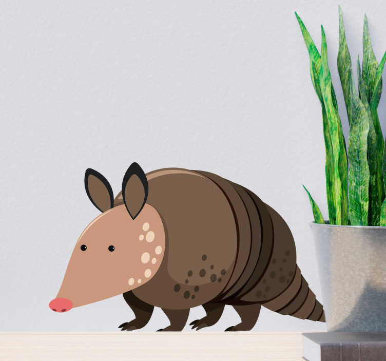 TenStickers. Kids Armadillo Wall Sticker. Kid Wall Stickers;Fun and playful illustration of a friendly armadillo with big eyes. Ideal for the kids´bedrooms and play areas.