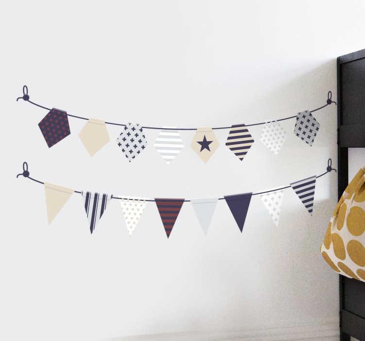 TenStickers. 优雅的彩旗贴花横幅. 我们的彩旗墙贴系列中精美绝伦的彩旗贴花,可以装饰家庭或工作中的任何空间。