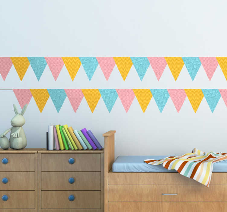 TenStickers. Colourful Bunting Decal Banners. A colourful set of party banners from our superb collection of bunting wall stickers to decorate the bedroom or play area of the little ones.