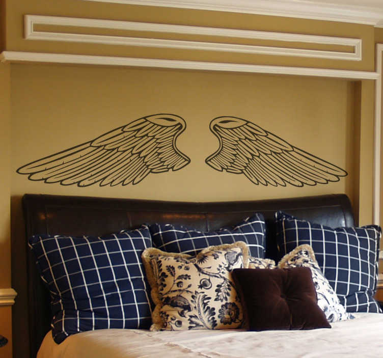 TenStickers. Naklejki kontur anielskich skrzydeł. Naklejka dekoracyjna na ścianę przedstawiająca zarys rozłożystych skrzydeł anioła.