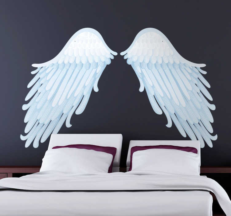 TenStickers. Angel Wings Wall Art Decal. A detailed illustration in blue tones of angel wings perfect for any room. An original design from our collection of angel wings wall art stickers.