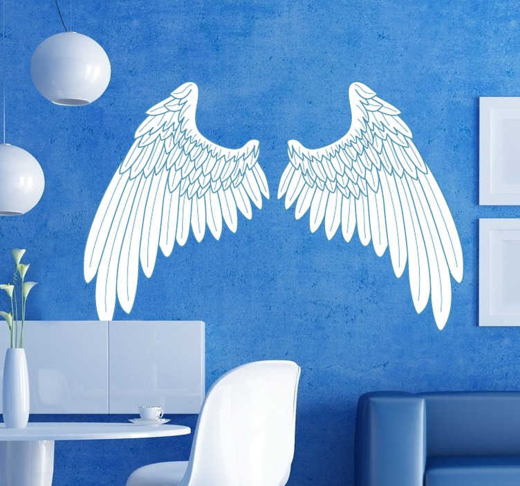 Blue outline angel wings wall art sticker tenstickers for Angel wings wall decoration uk