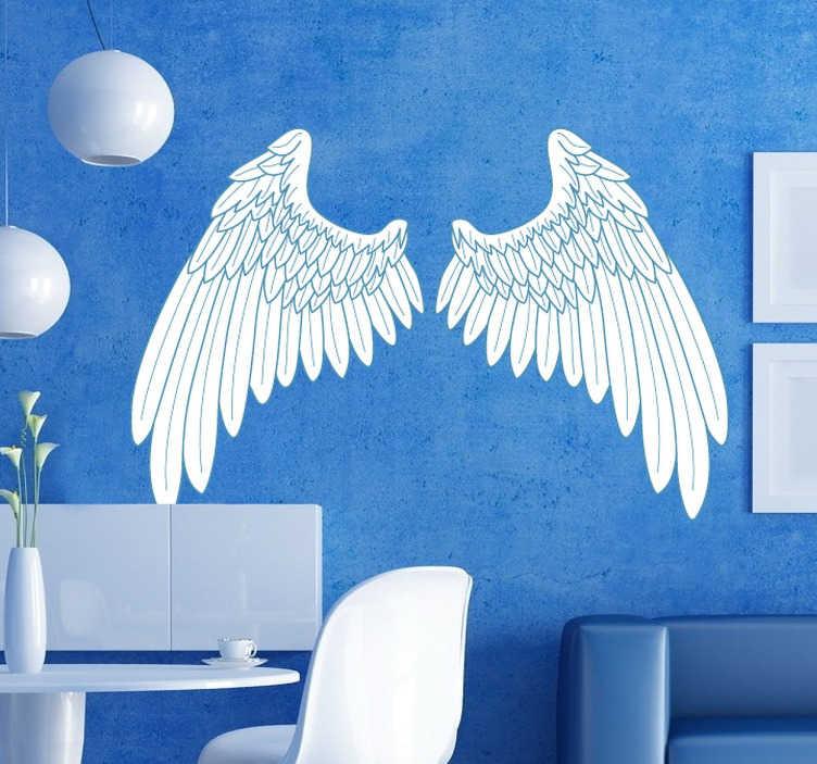 TenStickers. Blauw omlijning engel vleugels sticker. Mooie muursticker van prachtige engelen vleugels in het wit met blauwe omlijning! Beplak deze sticker in jouw woning!