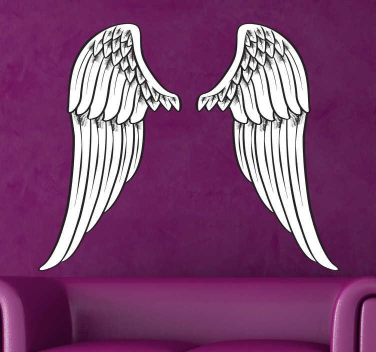 TenStickers. Sticker ailes d'ange art. Sticker idéal pour décorer les murs de votre intérieur avec ces ailes d'anges réalisées dans un style très artistique.