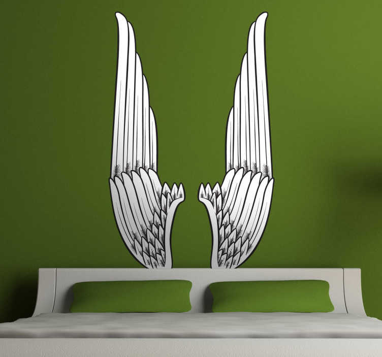 TenStickers. Vertical Angel Wings Wall Art Sticker. Give a mythological and divine touch to the walls of your home with one of our vinyls. A design from our angel wings wall art collection.
