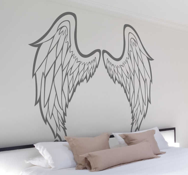 Outline of angel wings wall art sticker tenstickers for Angel wings wall decoration uk
