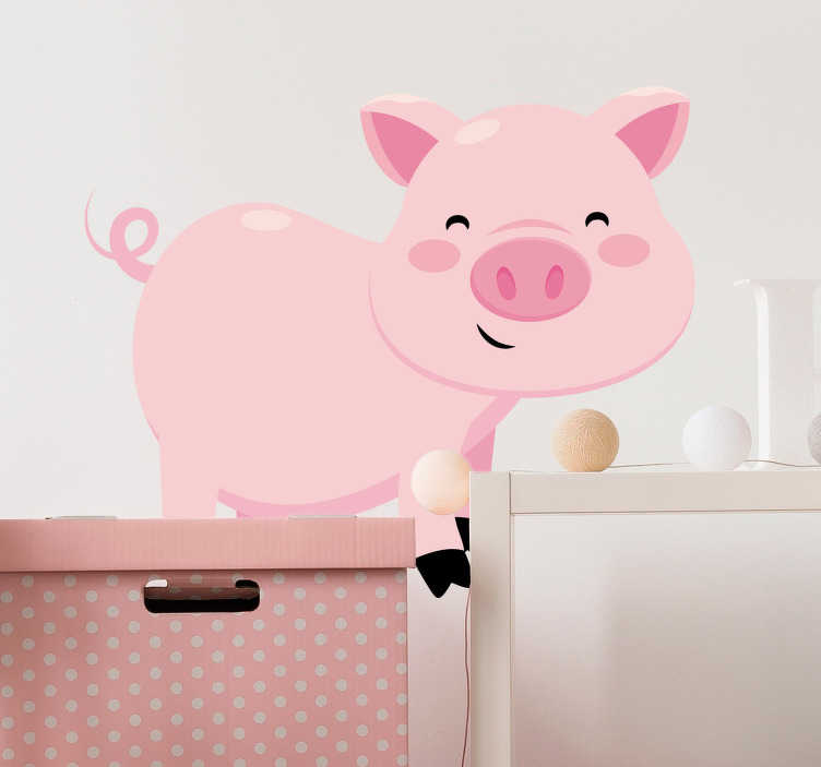 TenStickers. Kids Pig Wall Sticker. Kid Wall Stickers;Fun and playful illustration of a friendly pig with big eyes. Cheerful design ideal for decorating areas for children.