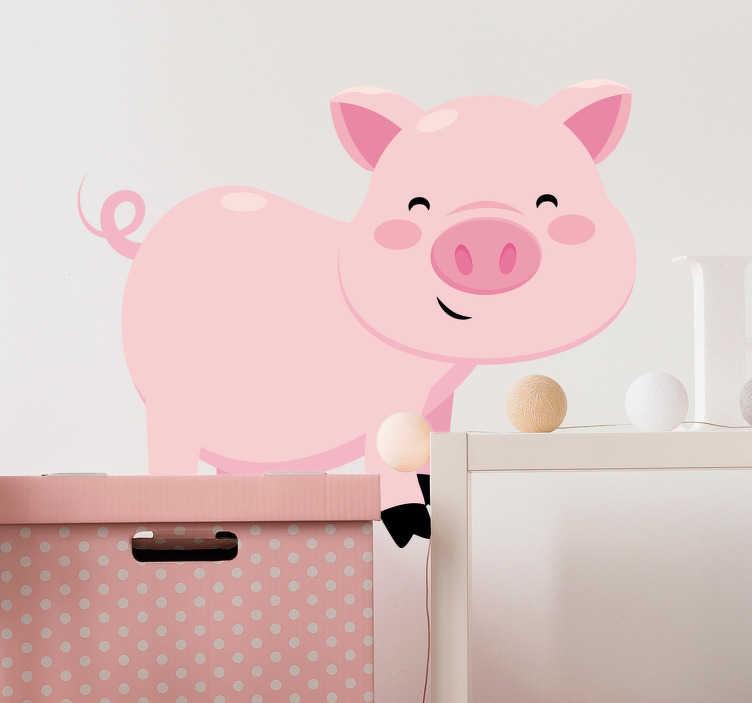 TenStickers. Naklejka dla dzieci świnia. Naklejka na ścianę przeznaczona do dekoracji pokoju dla dziecka. Obrazek przedstawia skaczącą świnkę z dużymi, niebieskimi oczami.