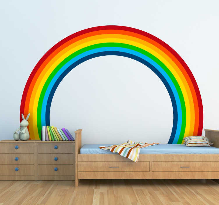 TenStickers. Perfecte regenboog sticker. Een vrolijkekleurrijkekinderkamersticker van eenperfecte regenboogspeciaal gemaakt om jouwhuismeer kleur te geven!