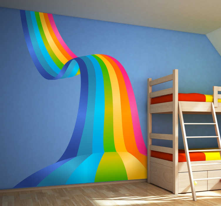 TenStickers. 彩虹波装饰贴花. 我们的彩虹墙贴系列设计精美,适合小孩的卧室!让您孩子的卧室焕然一新,营造出一种非常愉快的氛围。