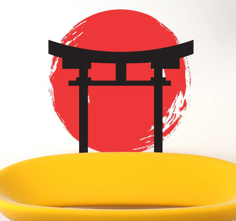 TENSTICKERS. 日本の寺のアイコンステッカー. 寺の入り口の扉と背景の日本の旗を示す日本のステッカー。あなたの家に日本の要素を持って来なさい。