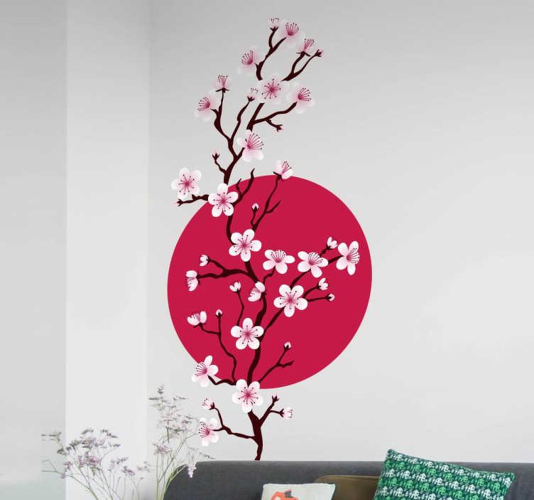 TenStickers. Wall sticker sakura branchen. Bring sakura træet til dit hjem med denne væg klistermærke. Dette dejlige design af en kirsebær blomst gren med det japanske flag bagved det vil give dig den blomstrende følelse hele året rundt.