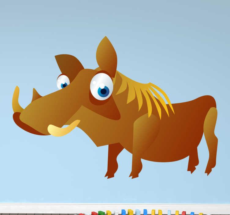 TenStickers. Sticker enfant animal phacochère. Stickers pour enfant illustrant un phacochère aux grands yeux bleus. Super idée déco pour la chambre d'enfant et tout autre espace de jeux.