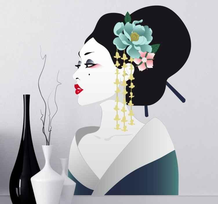 TenStickers. Geisha Japan Sticker. Dekorativer Wandaufkleber einer attraktiven japanischen Geisha. Der Sticker ist ideal für das Wohnzimmer, Schlafzimmer und für Jugendzimmer geeignet