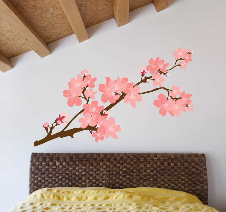 TenStickers. Japanese Cherry Tree Sticker. A Japanese floral wall sticker to give colour and an exotic touch to your home. Design from our collection of Japanese wall stickers. Cherry blossom with beautiful flowers in pink tones. An oriental wall sticker ideal for creating e a natural atmosphere.