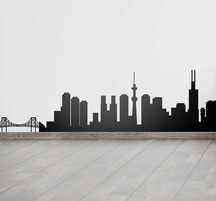 TenStickers. Naklejka linia horyzontu Tokio. Naklejka na ścianę przedstawiająca linię horyzontu z najbardziej rozpoznawalnymi budynkami stolicy Japoni.