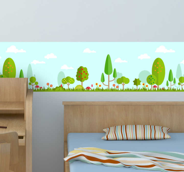 TenVinilo. Venefa adhesiva ilustración bosque. Vinilos para habitación infantil con motivos de naturaleza ideales para darle color a la estancia.