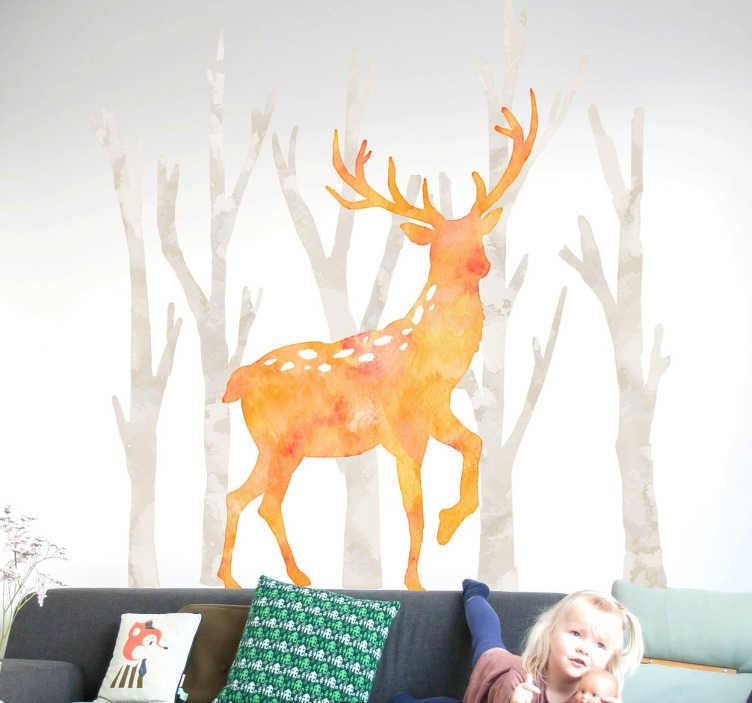 TenStickers. 수채화 사슴 벽 스티커. 숲 동물 벽 스티커의 우리의 수집에서 숲을 걷는 수사슴을 보여주는이 사슴 스티커가 있습니다. 안티 거품 비닐.