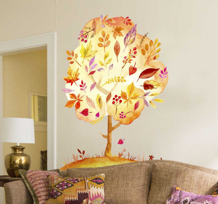 TenStickers. Autumn Forest Tree Wall Sticker. An autumn tree from our collection of forest wall stickers to decorate those empty spaces at home and enjoy a cheerful atmosphere.