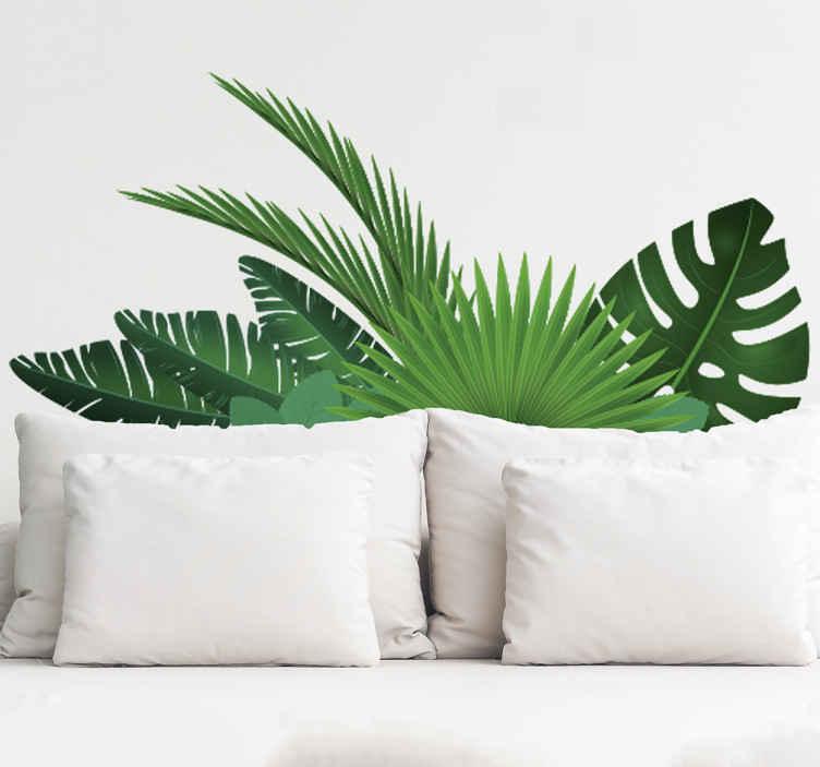 TenStickers. Muursticker tropische bladeren. Breng de jungle in huis met deze muursticker van tropische bladeren. De sticker is een rustige en leuke manier van decoreren. Voordelig personaliseren.