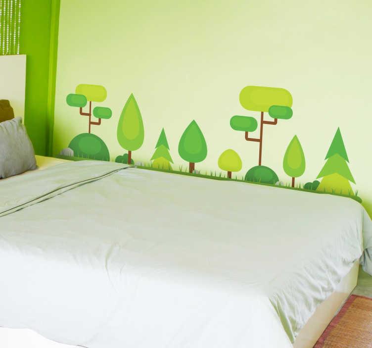 TenStickers. Naklejka abstrakcyjny las. Dodaj roślinnego elementu swoim wnętrzom w dość abstrakcyjnym stylu. Zielona dekoracja ścienna do salonu, sypialni lub pokoju dziecięcego.