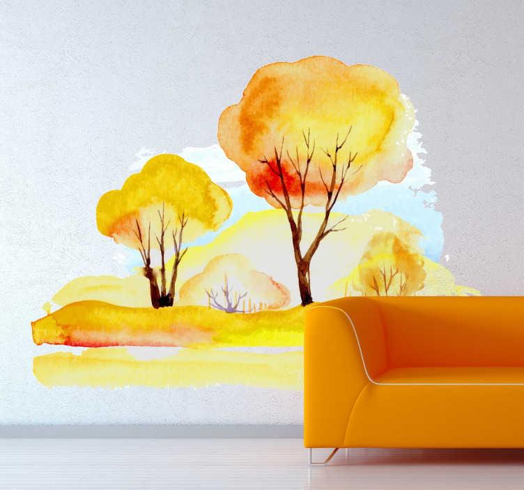 Sticker automne arbres aquarelle