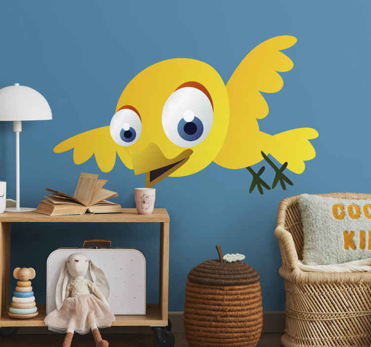 TenStickers. Kids Yellow Bird Sticker. Kids Bird Stickers - A cute design of a yellow bird with blue eyes. Our kids bedroom stickers are easy to apply and leave no residue upon removal.