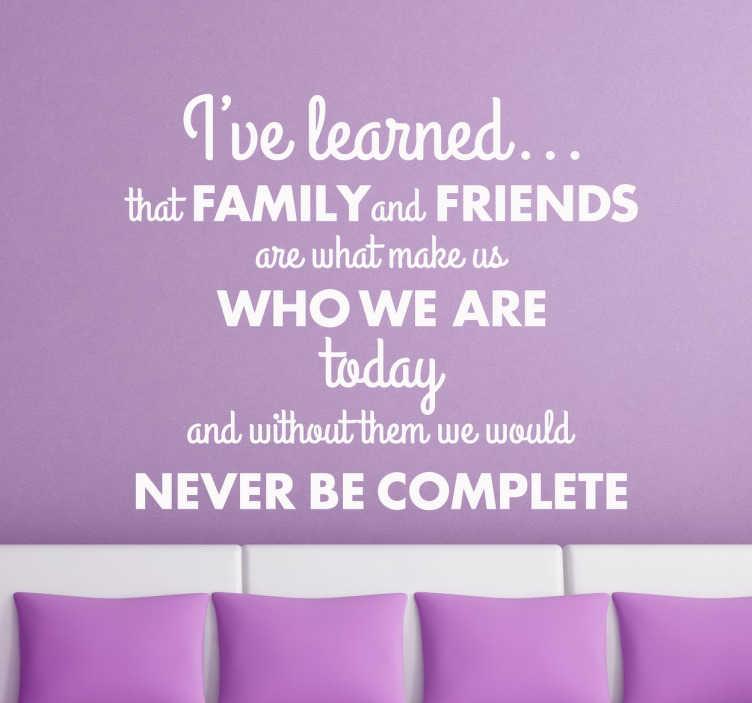 Familie En Vrienden Quote Muursticker Tekst Tenstickers