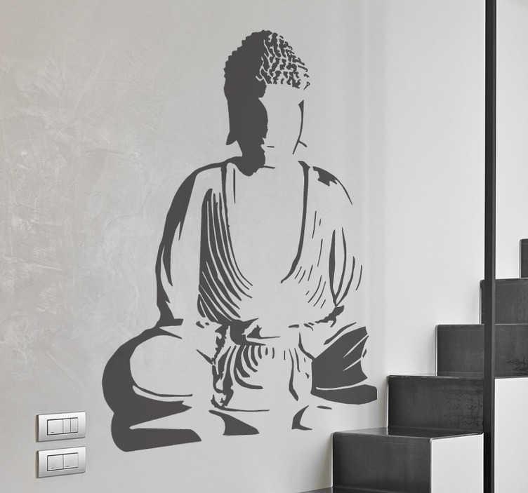 TenStickers. Boeddha illustratie sticker. Een mooie illustratie van een mediterende Boeddha van het Boeddhisme! Geloof jij in het Boeddhisme dan is deze sticker zeker geschikt voor jou!