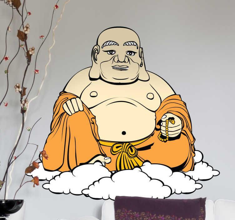TenStickers. Sticker Bouddha nuages. Donnez à votre intérieur une ambiance orientale et asiatique avec ce sticker représentant un Bouddha sur son nuage.