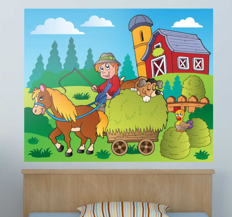 TenStickers. Farmer Illustration Kids Sticker. Kids sticker illustrating a farmer on his wagon and a horse pulling him forwards. Great decor sticker for childrens rooms or play areas.