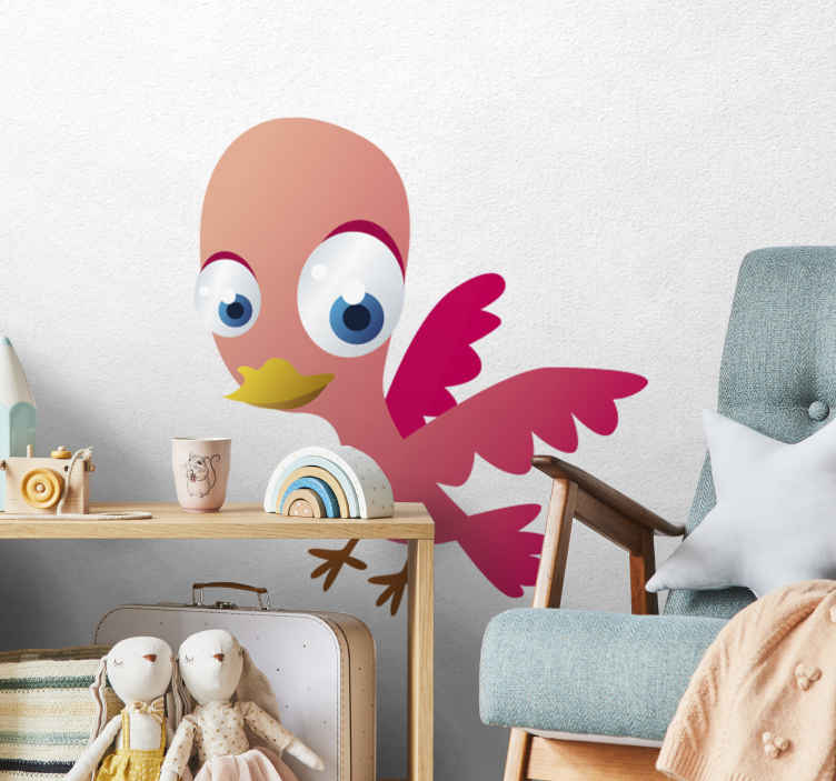 TenStickers. Pink Bird Kid Sticker. Kids Stickers - Illustration of a pink bird with big eyes.Designs ideal for decorating bedrooms and play areas for kids.