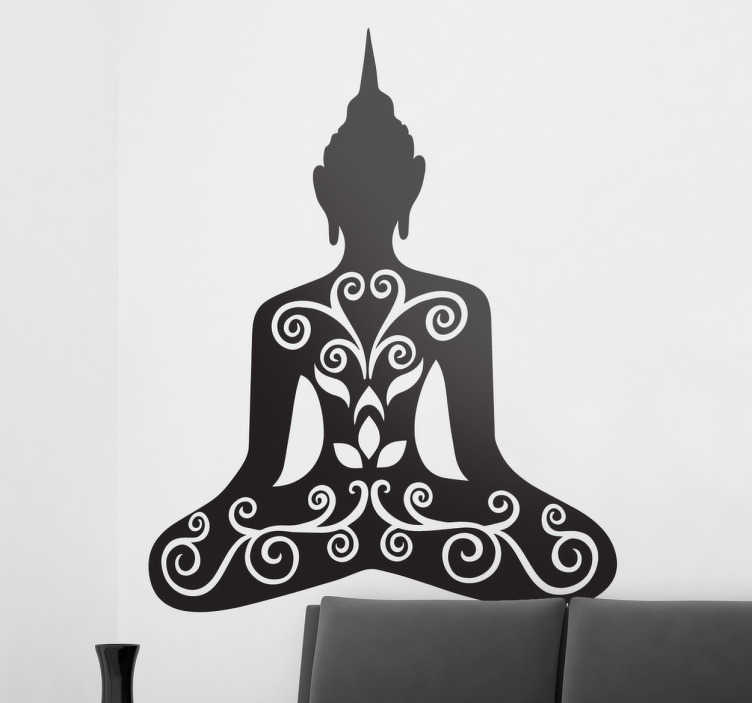 TenStickers. Floral Buddha Wall Decal. A silhouette design illustrating a Buddha with a floral design from our collection of Buddha wall stickers to give your home a personalised touch.