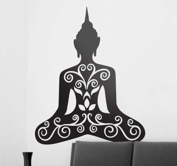 TenVinilo. Vinilo decorativo budismo. Vinilos de Buda con una silueta representativa y una textura tribal en el interior de la figura.
