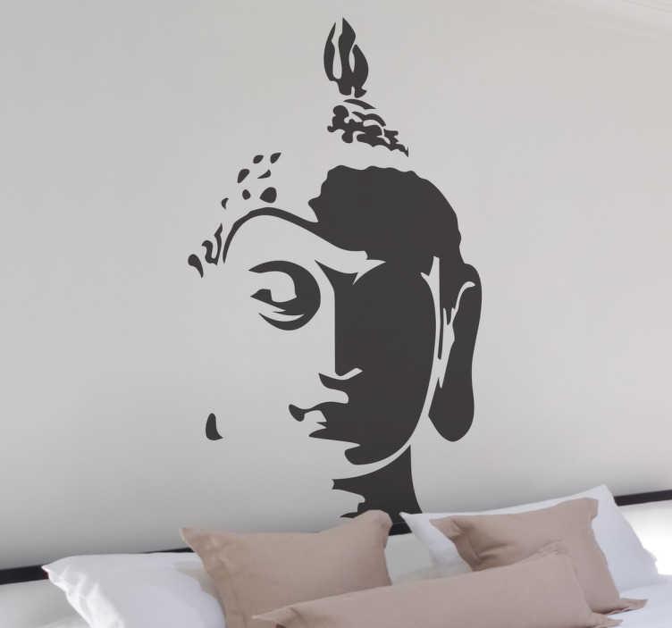 TenStickers. Tathagata 부처님 벽 스티커. 부처님 벽 스티커 우리의 컬렉션에서 tathagata 부처님의 머리를 보여주는 화려한 디자인.