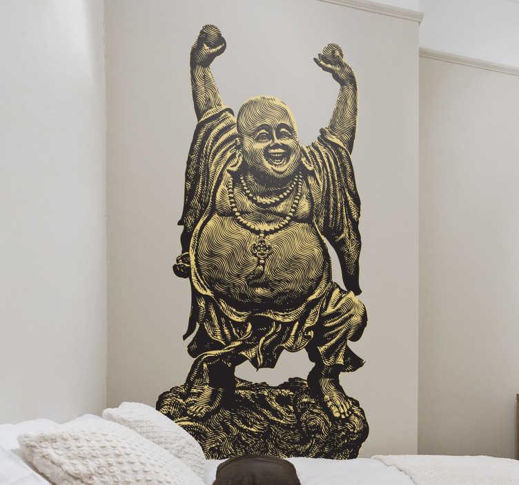 TenStickers. Naklejka szcześliwa Budda. Naklejka dekoracyjna przedstawiająca rozradowaną Buddę w tradycyjnej szacie. Naklejka imituje pomnik lub posąg.