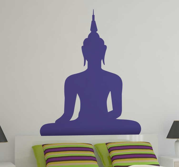 TenVinilo. Vinilo decorativo silueta de un Buda. Vinilos de Buda con una representación de este milenario sabio fundador de una corriente religiosa.