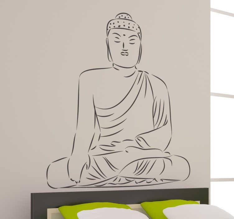 TenStickers. Tekening mediterende Boeddha sticker. Beplak jouw muren met deze muursticker met een tekening van een mediterende Boeddha! Houdt het simpel en bestel hem in de kleur dat jij wilt!