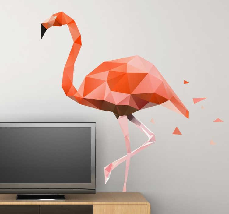 TenStickers. Vinil decorativov flamingo poligonal. Autocolante para decoração com uma versão geométrica de um flamingo em tons rosa.