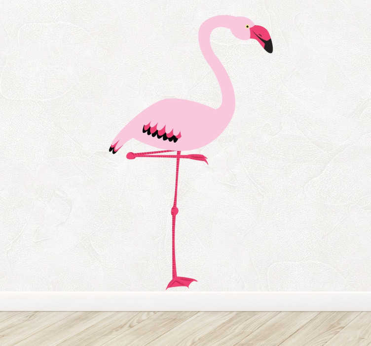 Sticker dessin flamant rose
