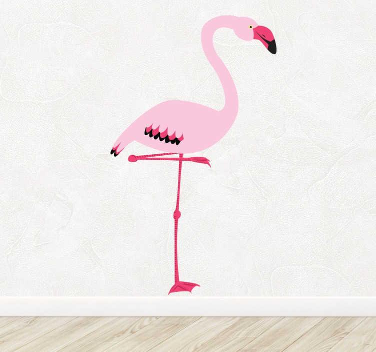 TenStickers. Vinil decorativo flamingo rosa. Adesivo animais com uma ilustração de um flamingo que poderás colocar em qualquer divisão da tua casa como a tua sala, o quarto infantil ou juvenil.