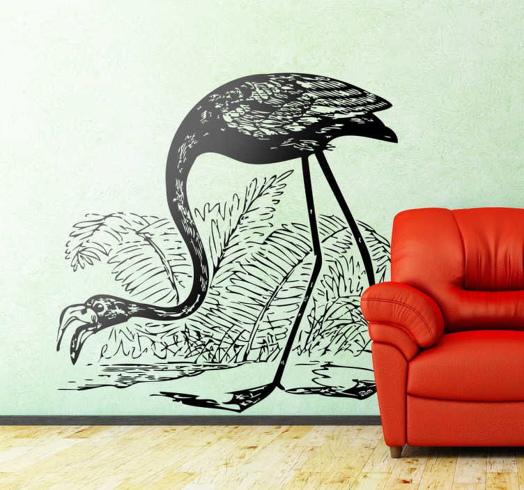 Tenstickers. Piirustus flamingon seinätaitetarrasta. Kiehtova flamingon piirrossuunnittelu ainutlaatuisesta flamingon seinämaalaustarrakokoelmastamme sisustamaan tyhjiä tiloja!
