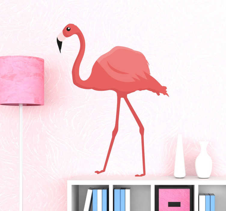 Sticker d coratif flamant rose tenstickers - Stickers flamant rose ...
